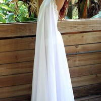 White Backless Lace Details Halter Maxi Dress