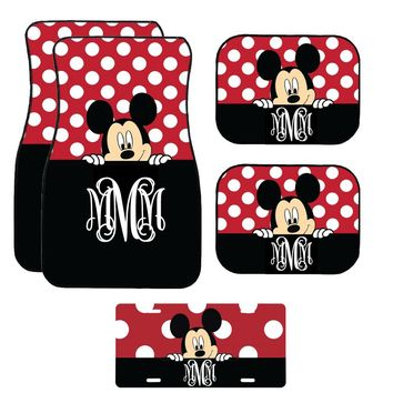Disney Black and Red Peeking Mickey Mouse Inspired Car Mat / Car mat Monogram