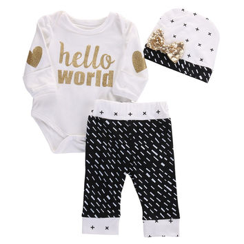 Baby Girls ( Hello World ) Long Sleeve Onesuit/Romper Pants and Hat Set