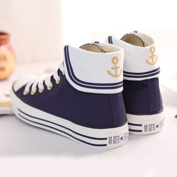 Cute japanese anchor student shoes