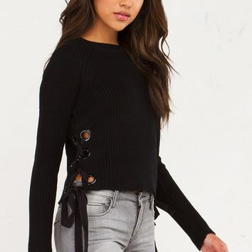 NO DOUBT SIDE LACE UP LONGSLEEVE SWEATER - What's New