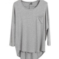 Round Neckline Cotton T-shirt with Irregular Hem