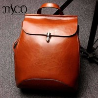 Genuine Leather Backpacks Preppey Style School Bag For Girls Vintage Brown Travel Bag Women Double