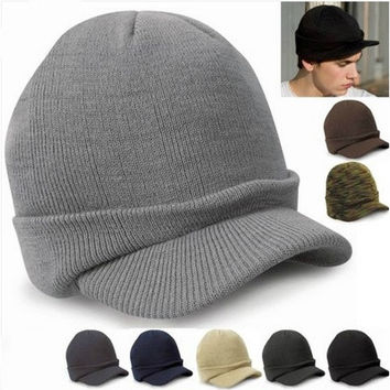 Men Warm Baggy Crochet Visor Brim Beanie Ski Cap Baggy Oversized Knit Skull Hat FOR [9145171142]