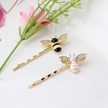 M MISM New Colorful Girls Barrettes Flying Bee Hair Clip Pins Cute Pink Black Hair Jewelry Rhinestone Hair Accessories Hairpins