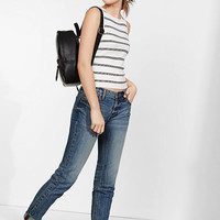 Striped Sleeveless Ribbed Crew Neck Sweater from EXPRESS