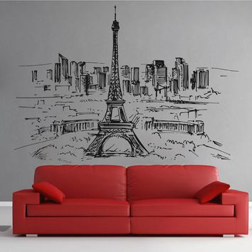 ik2400 Wall Decal Sticker Paris France Eiffel Tower panorama  city hall bedroom