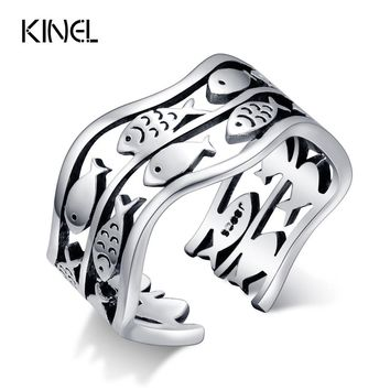 100% 925 Sterling Silver Midi Rings For Women Birthday Party Gifts Vintage Lucky Fish Ring Thai Silver Jewelry