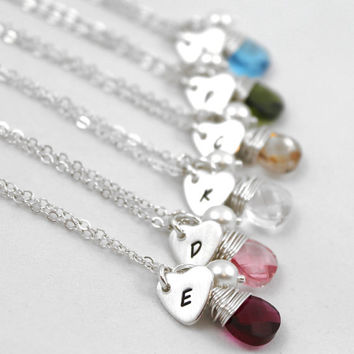 Set of 6: Bridesmaid Gift Set Personalized Necklace, Swarovski Crystal Briolette with Sterling Silver Stamped Heart Charm and Tiny Crystal