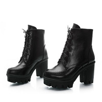 Big Size Chunky Heel Ankle Lace Up Pure Color Martin Boots