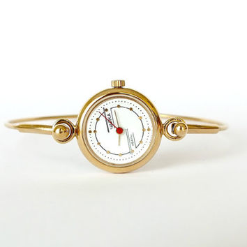 Tiny Womens Quartz Watch Chaika. Gold Plated Womens Watch Bracelet. Retro Style Ladies Cocktail Watch. Vintage Small Watch For Women.