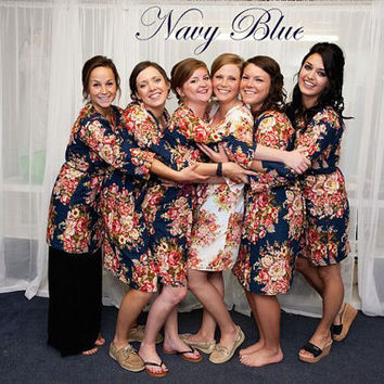 Navy Blue kimono robe Floral robes Pastel Bridesmaid Robe Grey bridesmaid robe spa robes bridal party robes mint bridesmaid robes set of