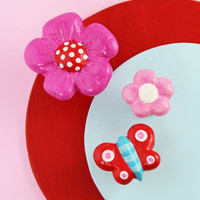 pink and red flower knob with polkadots for bohemian style kids room