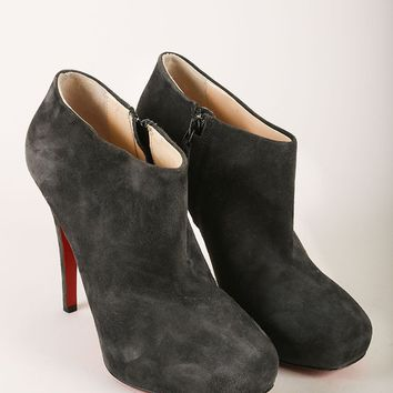 AUGUAU Grey Suede Leather Platform Heeled Ankle Booties