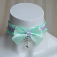 Kitten play collar - Mint lady - ddlg little girl lolita choker - kawaii cute fairy kei harajuku pastel purple and light green with bell