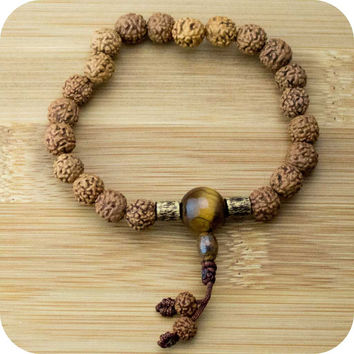 Rudraksha Wrist Mala Bracelet with Tigers Eye and Etched Brass