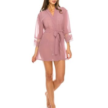 Dusty Orchid Lace Sheer Mesh Robe 2 Pc. Set