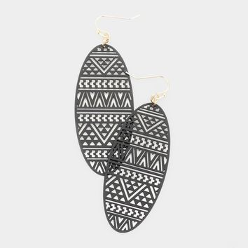 Oval Metal Filigree Drop Earrings