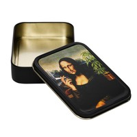 Metal Stash Tin - Mona Lisa Smoking a Joint