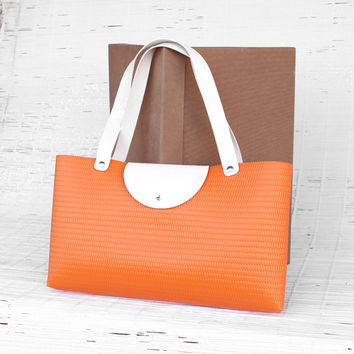 Large tote bag Women's orange and white tote bag Vegan tote bag Handmade no leather handbag. Orange embossed plastic Vinyl tote bag Vegan