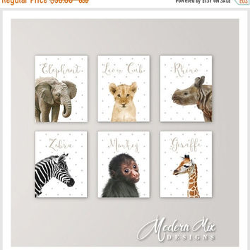 Baby Animals Nursery Decor Safari Nursery Art Baby Animal Nursery Prints Baby Elephant Lion Rhino Zebra Monkey Giraffe Set of 6 BA-001
