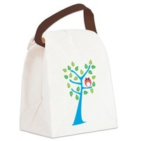 Red Owl in the Tree Canvas Lunch Bag> Little Red Owl in Tree> Aviator Owl