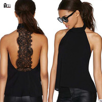 2016 Summer fashion hot sale women chiffon black causal tank style top sexy lace backless woman sleeveless girls ladies tops
