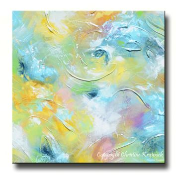 GICLEE PRINT Art Abstract Painting Aqua Blue White ModernCoastal Canvas Prints Home Decor