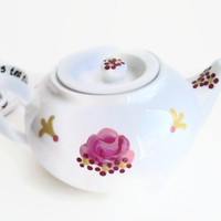 "Teapot ""Mad Hatter's Tea Party"" hand painted original"