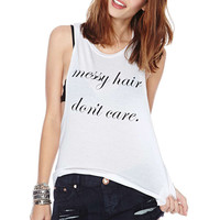 White Graphic Print Tank Top