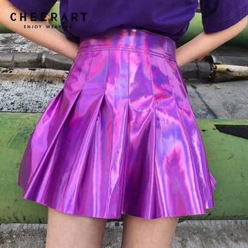 Cheerart Punk Rock Faux Leather Skirt Women Summer Holographic Mini Pleated Skirt Glitter Purple High Waist Skater Skirt