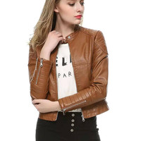 Brown Crew Neck Leather Jacket with Zipper Design