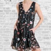 Dainty Floral Embroidered Dress - Black