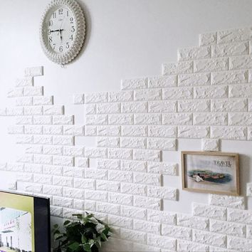 ICIK272 PE Foam 3D Wall Stickers Wallpaper Safety Home Decor DIY Wall Decor Brick  Living Room Kids Bedroom Self-Adhesive Poster Sticker