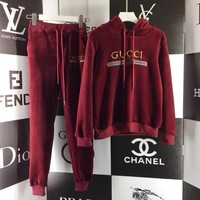Gucci Top Sweater Pullover Pants Trousers Set Two-Piece Sportswear Red