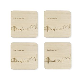 Custom Wood City Coasters San Francisco Set of 4 Artisan Designed Laser Cut
