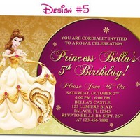Belle Beauty the Beast Birthday Party Photo Invitations - Printable
