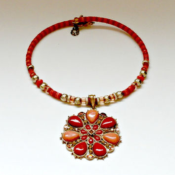vintage red and peach with gold acccents beaded statement necklace choker large beaded pendant antique retro  choker  large bohemian pendant