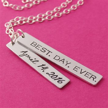 """Best Day Ever"" Wedding Date Necklace"