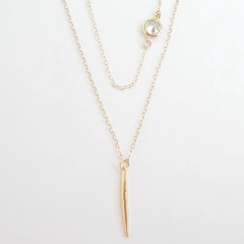 Layered set of two necklaces needle spike bar & bezel diamond cz, gold filled dainty layer double gold necklace