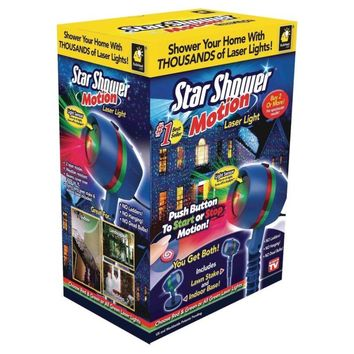Star Shower Motion Laser Lights, Projector, Indoor Outdoor, Green Red