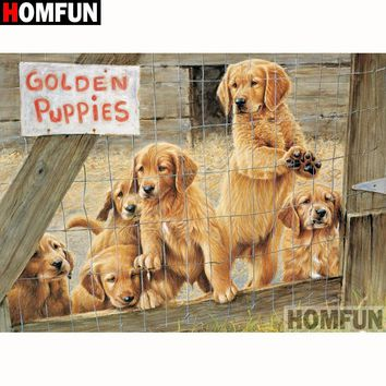 5D Diamond Painting Golden Puppies For Sale Kit