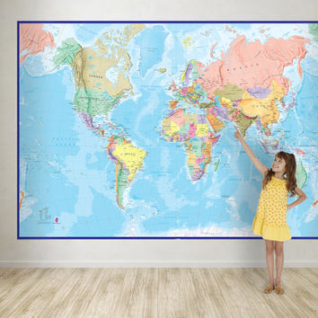 Giant World Map Mural - Blue Ocean -- wall decal, map wallpaper, home decor, living room, bedroom, wall art, world map wallpaper