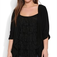 Plus Size 2fer Top with Lace Ruffles