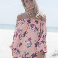 On Turks Time Coral And Mauve Flower Print Top