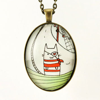 Pirate Cat Necklace Cute Nautical Pendant Kawaii by cellsdividing