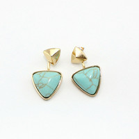 Gold Plated Geometric Triangle Stone Ear Jacket Earrings by Fashnin.com