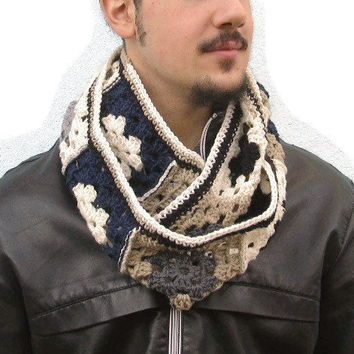 Men's Scarf, Crochet Infinity,  Scarf for men, Granny square Scarf, Crochet neckwarmer, Infinity Men Women Scarf, Unisex Scarf