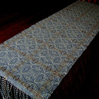 Handwoven Cotton Blue, white and burgundy Shadow-weave Table Runner, Free Shipping