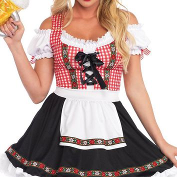 Beer Wench Black White Red Gingham Plaid Pattern Floral Short Sleeve Off The Shoulder Apron Flare A Line Mini Dress Halloween Costume